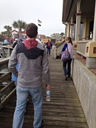 Walking to board the boat.