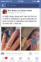 After we told the fiancee's parents and siblings, I blasted it on social media (of course.)