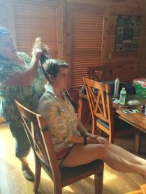 Mama doing my hair.