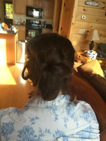 The back of my hair before we added some tiny flowers.